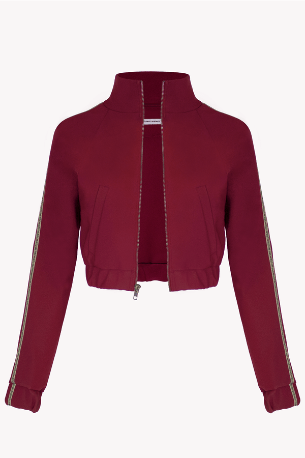 Cropped Track Jacket Red Maroon with Floral Trim