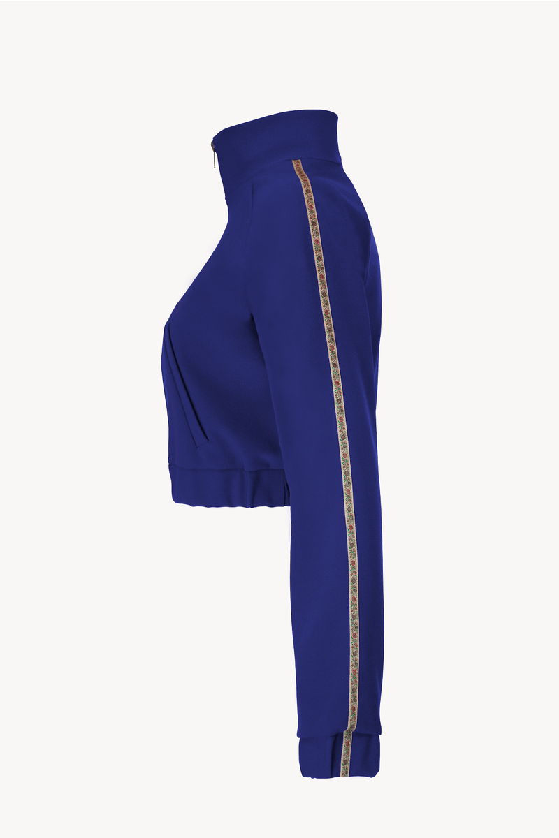 Cropped Track Jacket Royal Blue with Floral Trim Pockets