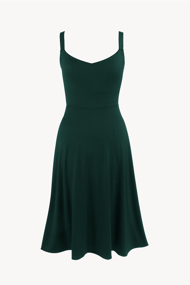 Dark Green A-line dress midi Organic Cotton  TENCEL™ with pockets