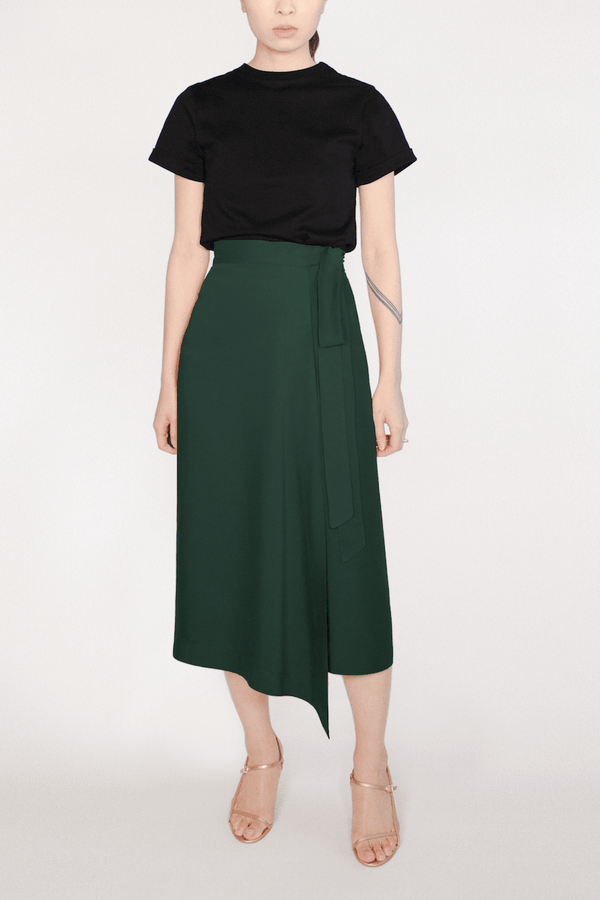 Green TENCEL™ Lyocell Midi Wrap Skirt