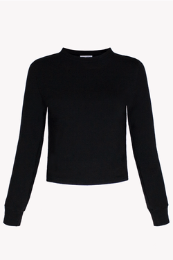 Long Sleeved Cropped Sweater Organic Cotton Tencel Black
