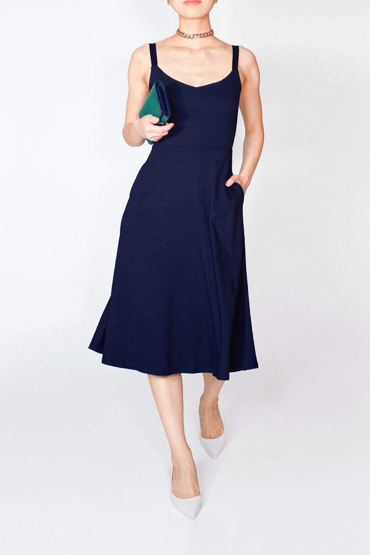 Navy Blue BCI Cotton / TENCEL™ Modal Blue A-Line Midi Dress