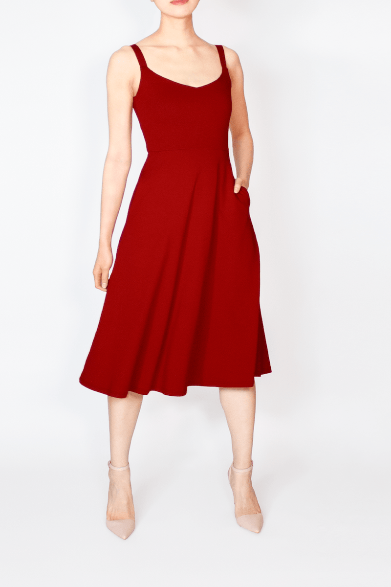 Red BCI Cotton / TENCEL™ Modal A-Line Midi Dress