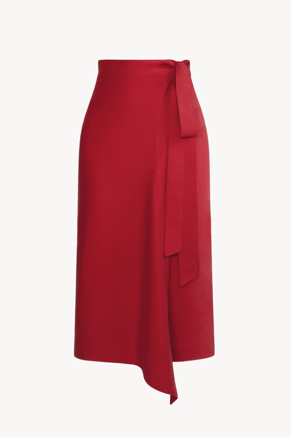Red TENCEL™ Lyocell Midi Wrap Skirt