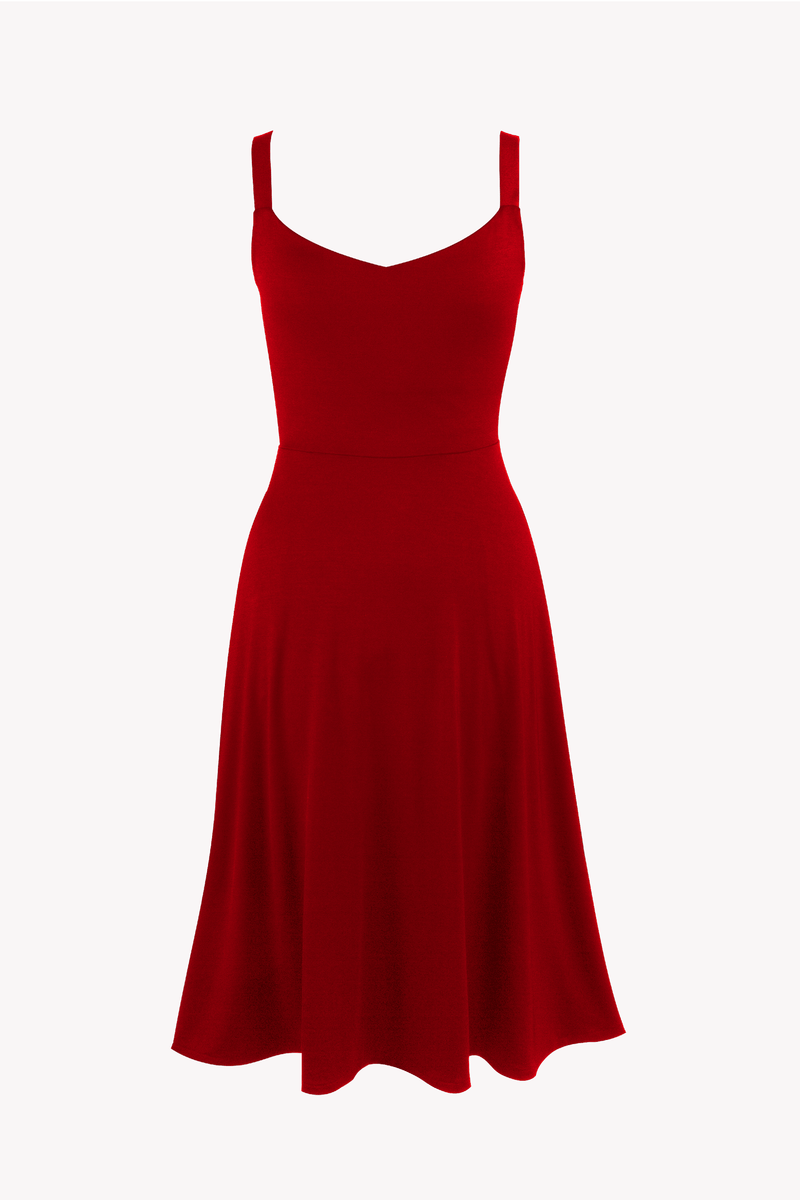 Red A-line dress midi Organic Cotton  TENCEL™ with pockets