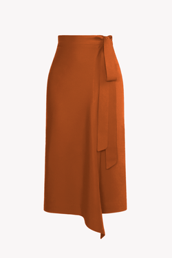 Rust TENCEL™ Lyocell Midi Wrap Skirt