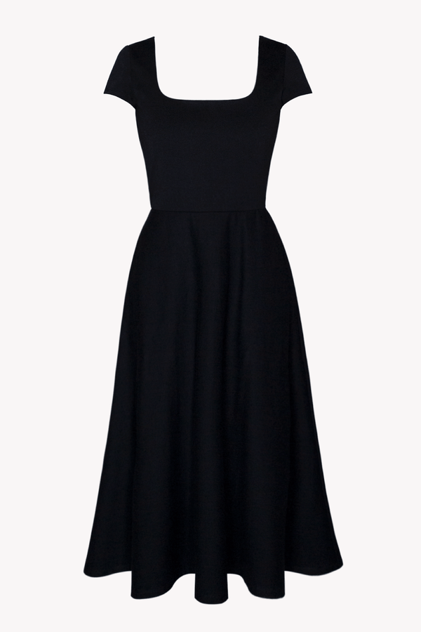 Black BCI Cotton Square Neck A-Line Mid-Calf Dress