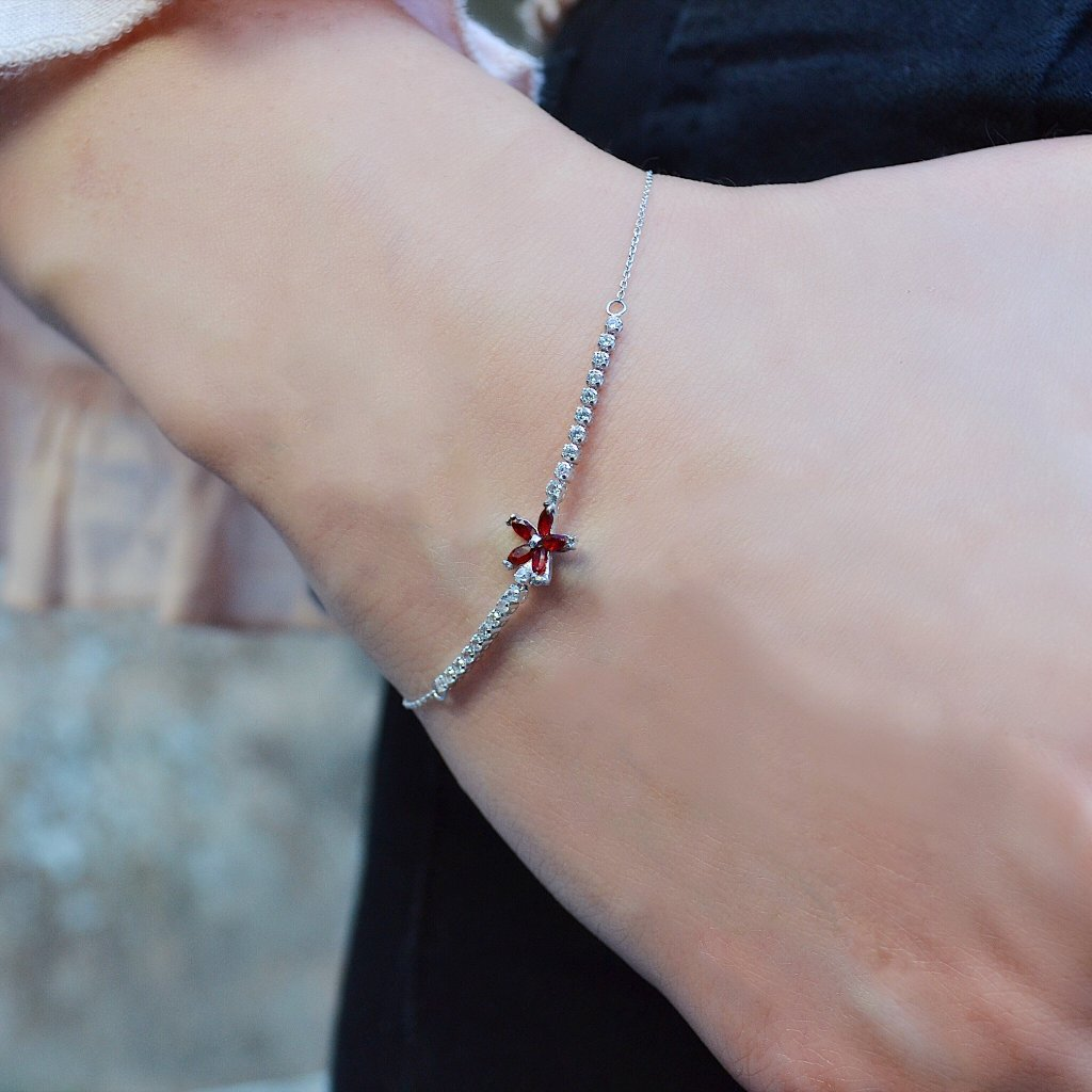Red Flower White Gold Bracelet