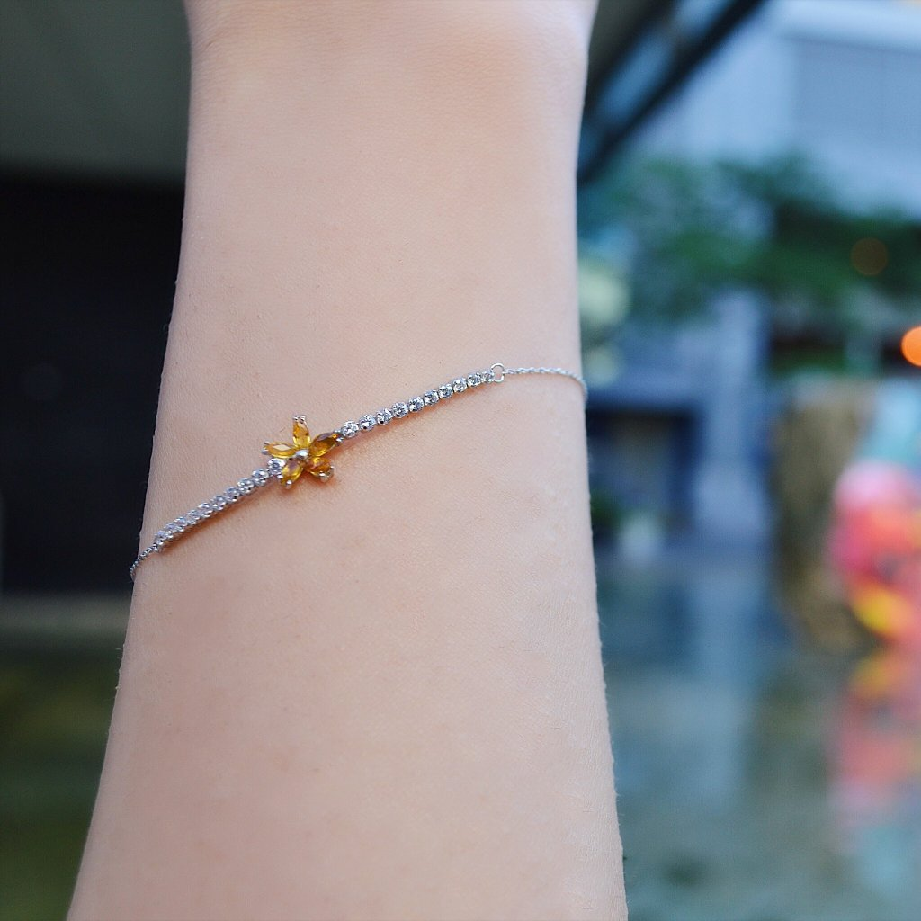 Yellow Flower White Gold Bracelet