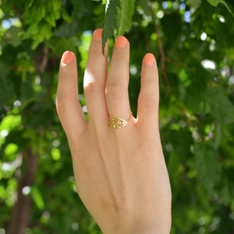 Leaf Catena Gold Ring - by Claurete Jewelry at Claurete.com