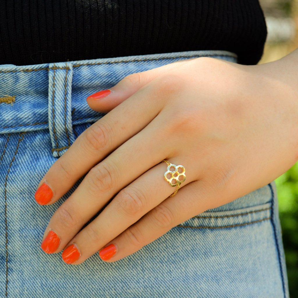 Flower Catena 18K Solid Gold Ring - by Claurete Jewelry at Claurete.com