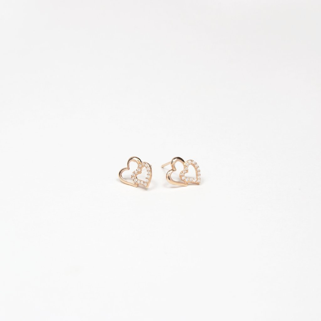 Double Love Goujon Rose Gold Vermeil Earrings - by Claurete Jewelry at Claurete.com