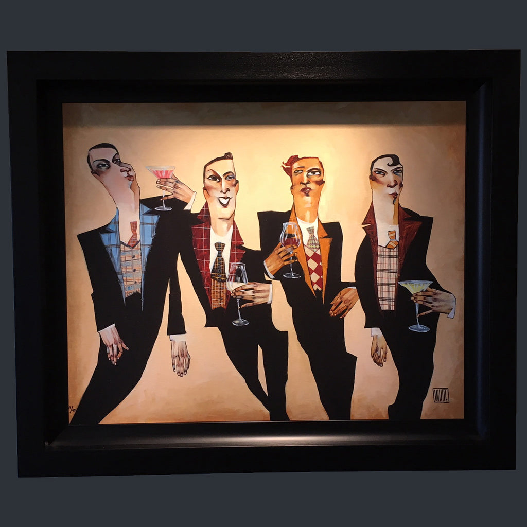Four gentlemen in suits drinking cocktails together in the Todd White Print Plaided