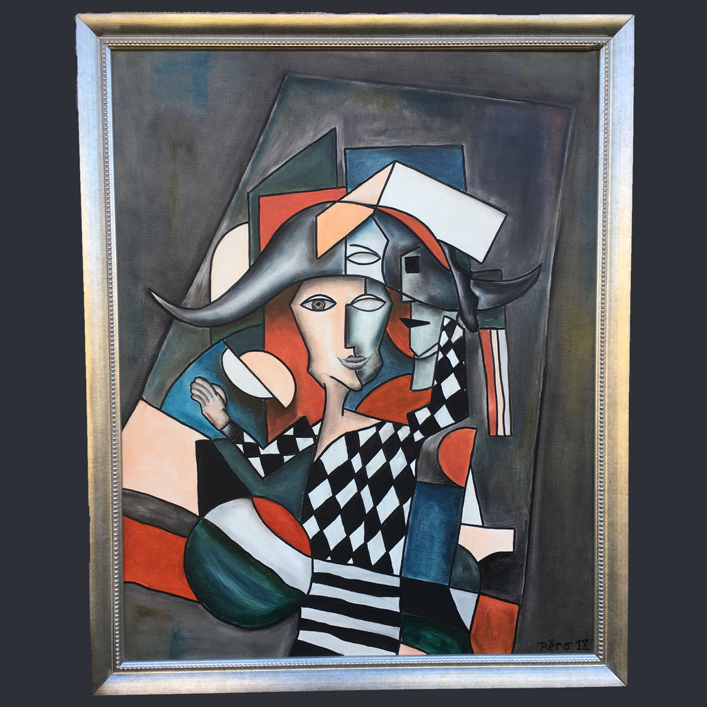 Neo cubist painting by Alain Beraud showing a harlequin figure in shades of orange, red, black and white