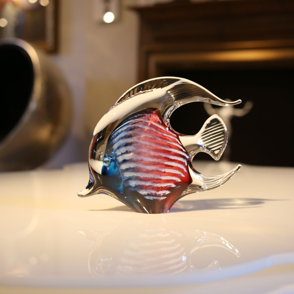 Red Blue Angelfish Glass Ornament