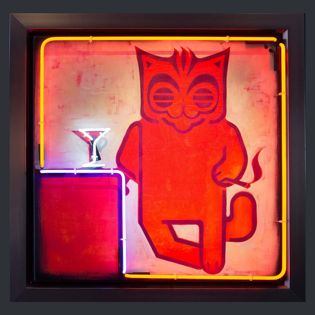 A neon light up sign with a cartoon cat leaning against a cocktail bar with a cocktail glass.