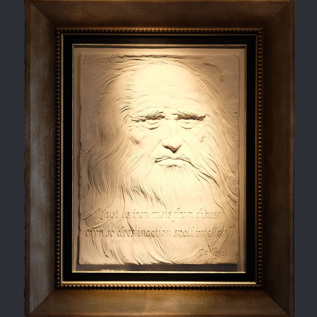 Homage to Leonardo Da Vinci by Bill Mack, in his famous relief style