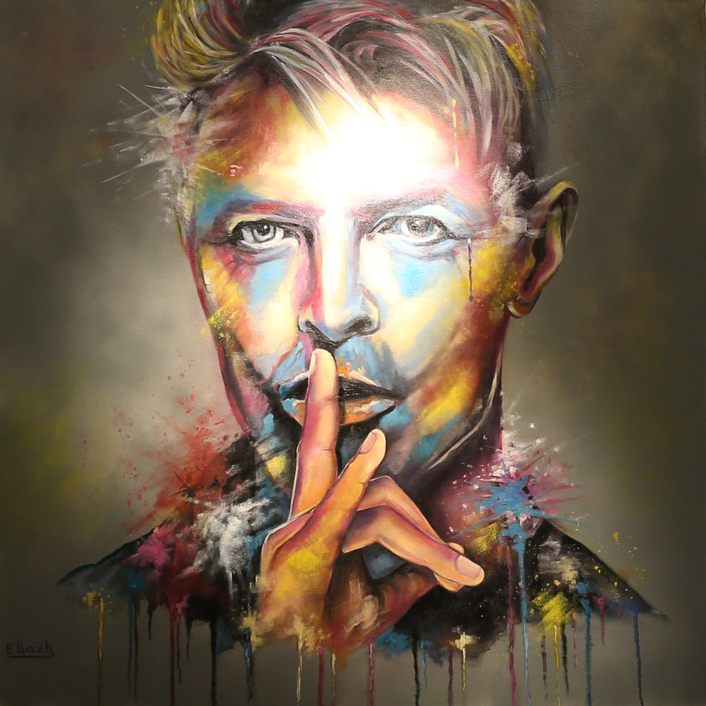David Bowie portrait with bright colours and paint dripping along the bottom of the picture