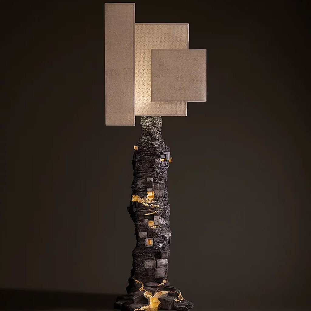 Cuenca tall lamp with gold leaf detail