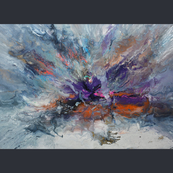 A rectangular canvas with purple, orange and grey colours. A stormy piece by artist Swarez