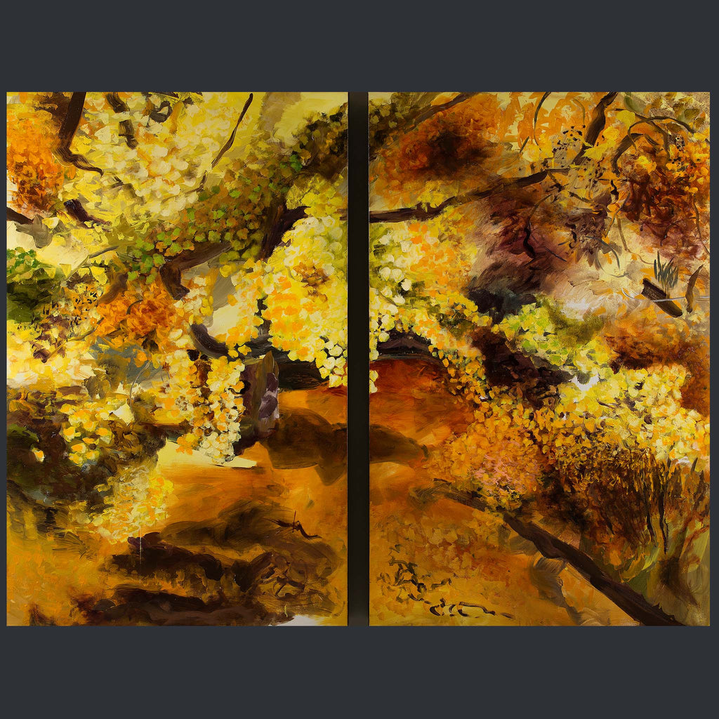 Two large paintings depicting an orange and yellow forest style scene
