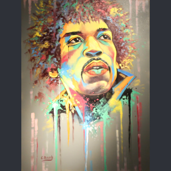 Jimi Hendrix portrait with bright colours and paint dripping down the canvas