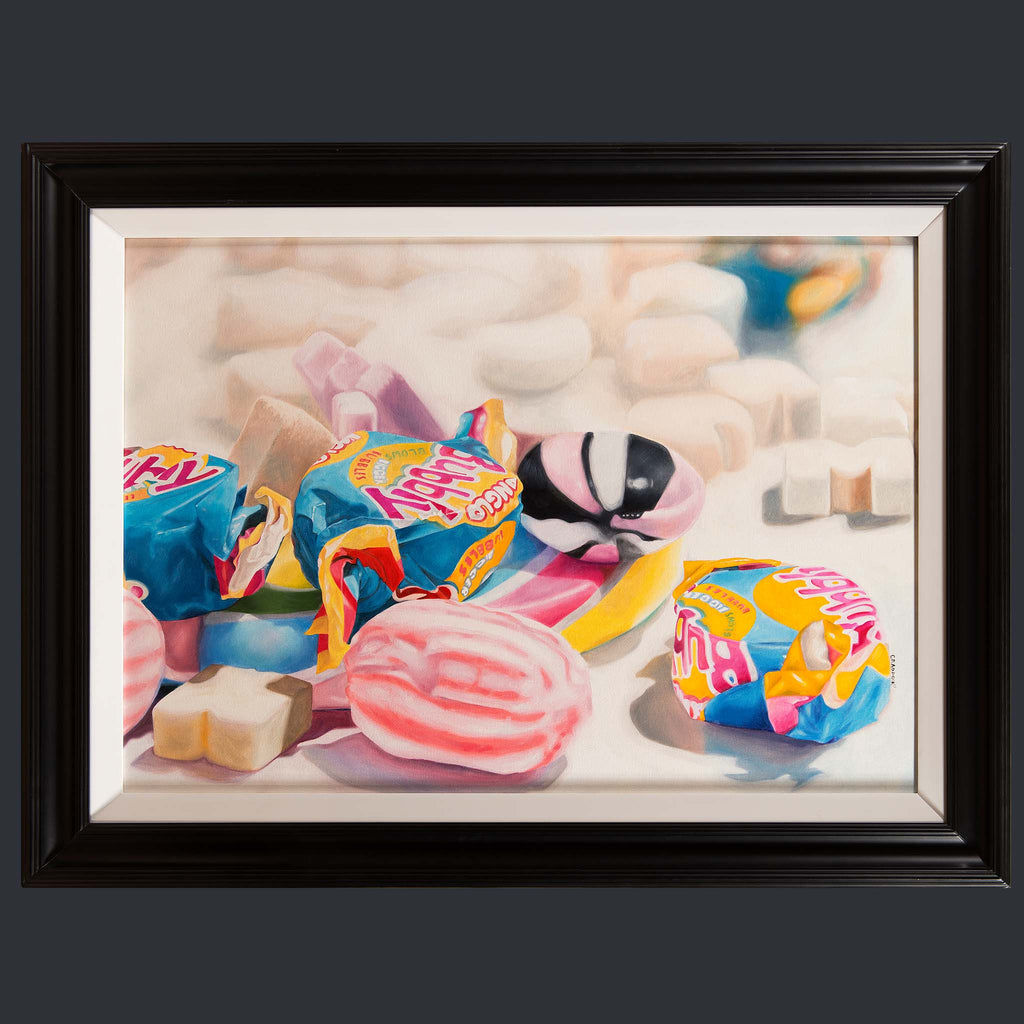 Large painting of Hubbly Bubbly sweets by Jody Craddock