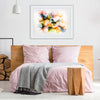 A coloured alcohol ink wall art above a bed by Silvia B