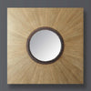 Square wooden frame with circular mirror radiating from the centre.
