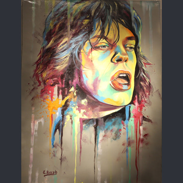 Mick Jagger portrait with coloured splashes of paint by Eva Bazhenova