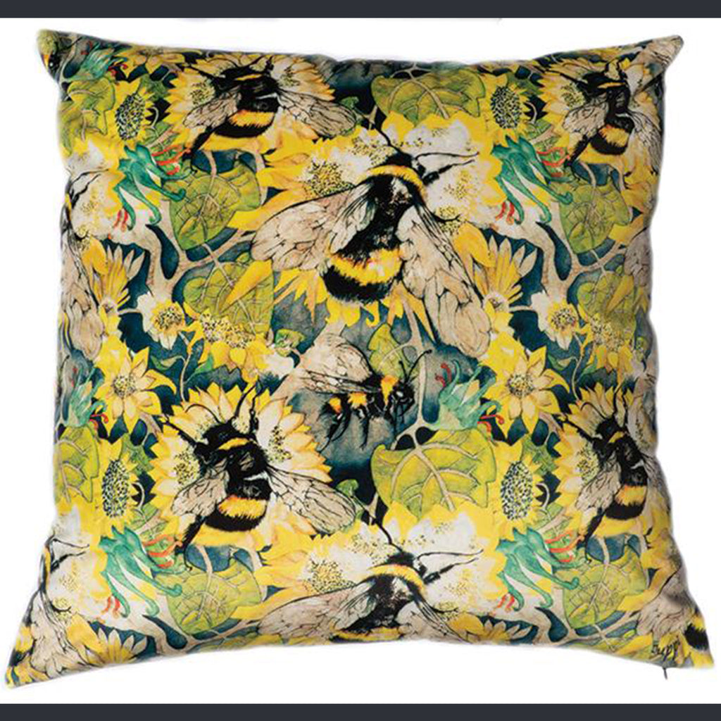 Bees and sunflowers on a large velvet cushion