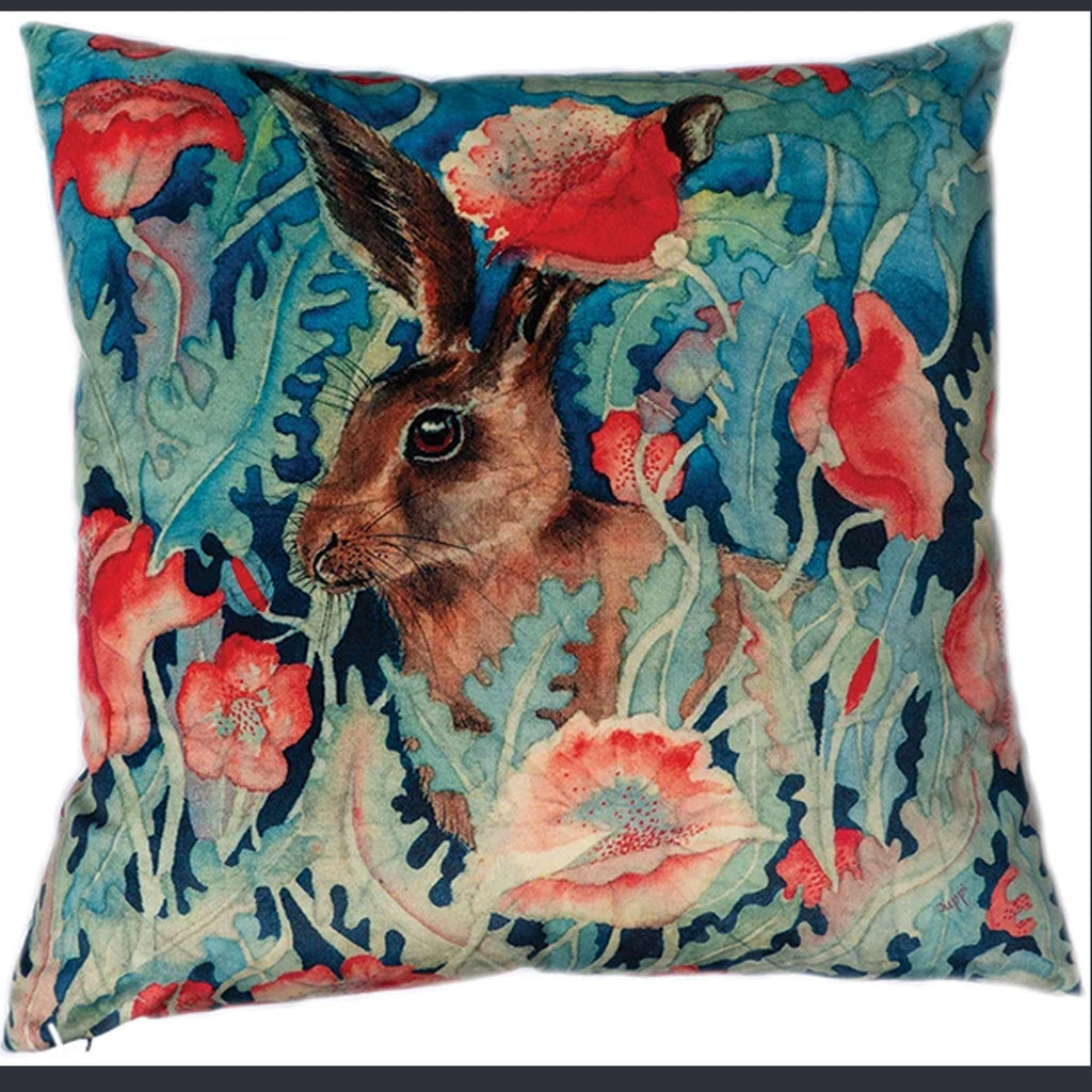 Mr Hare and Poppy Velvet Cushion