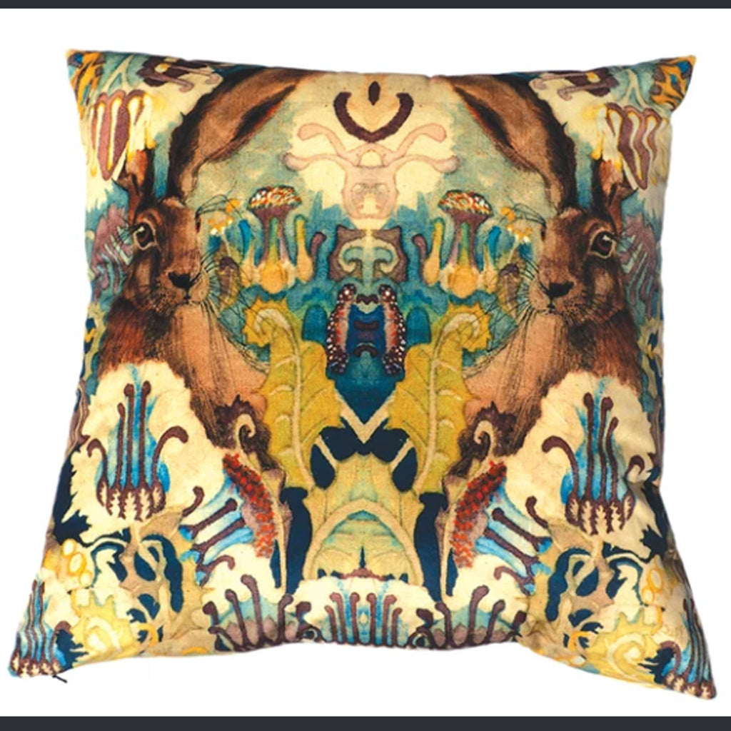 Mad March Hare Velvet Cushion