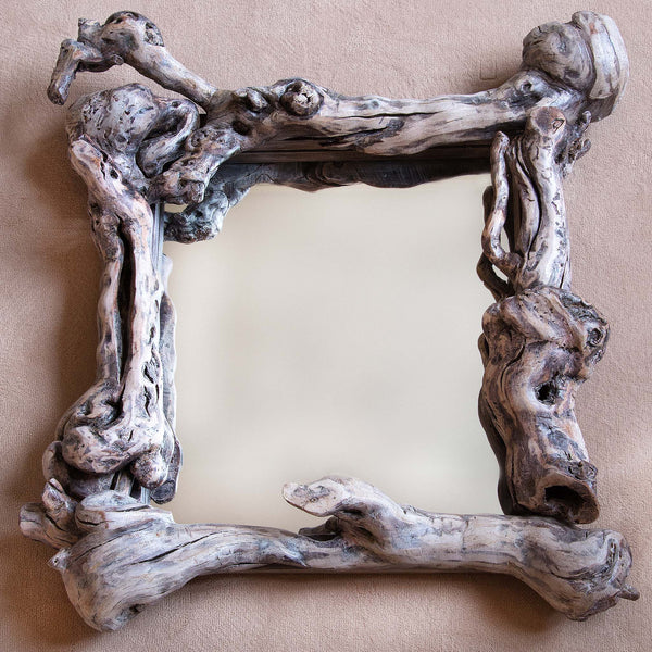 Square mirror with frame made from one hundred year old grapevine