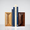 Wooden Linley bricks used as book ends