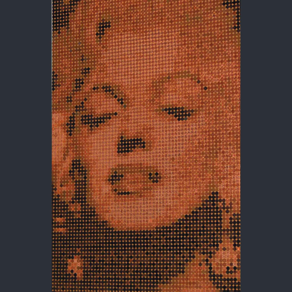 Marilyn Monroe mosaic created using one pence coins