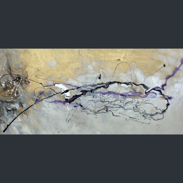 A narrow rectangular canvas with neutral tones of gold and cream, with dashes of black and purple across the middle by artist Swarez