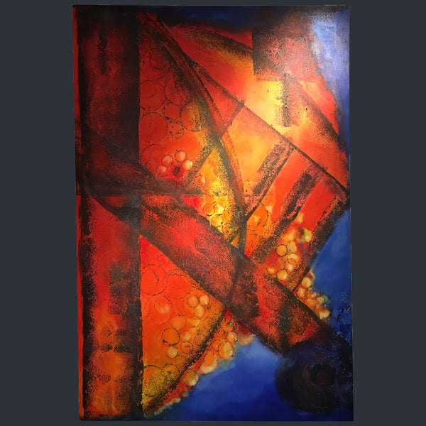 A large abstract canvas of blue red and orange colours