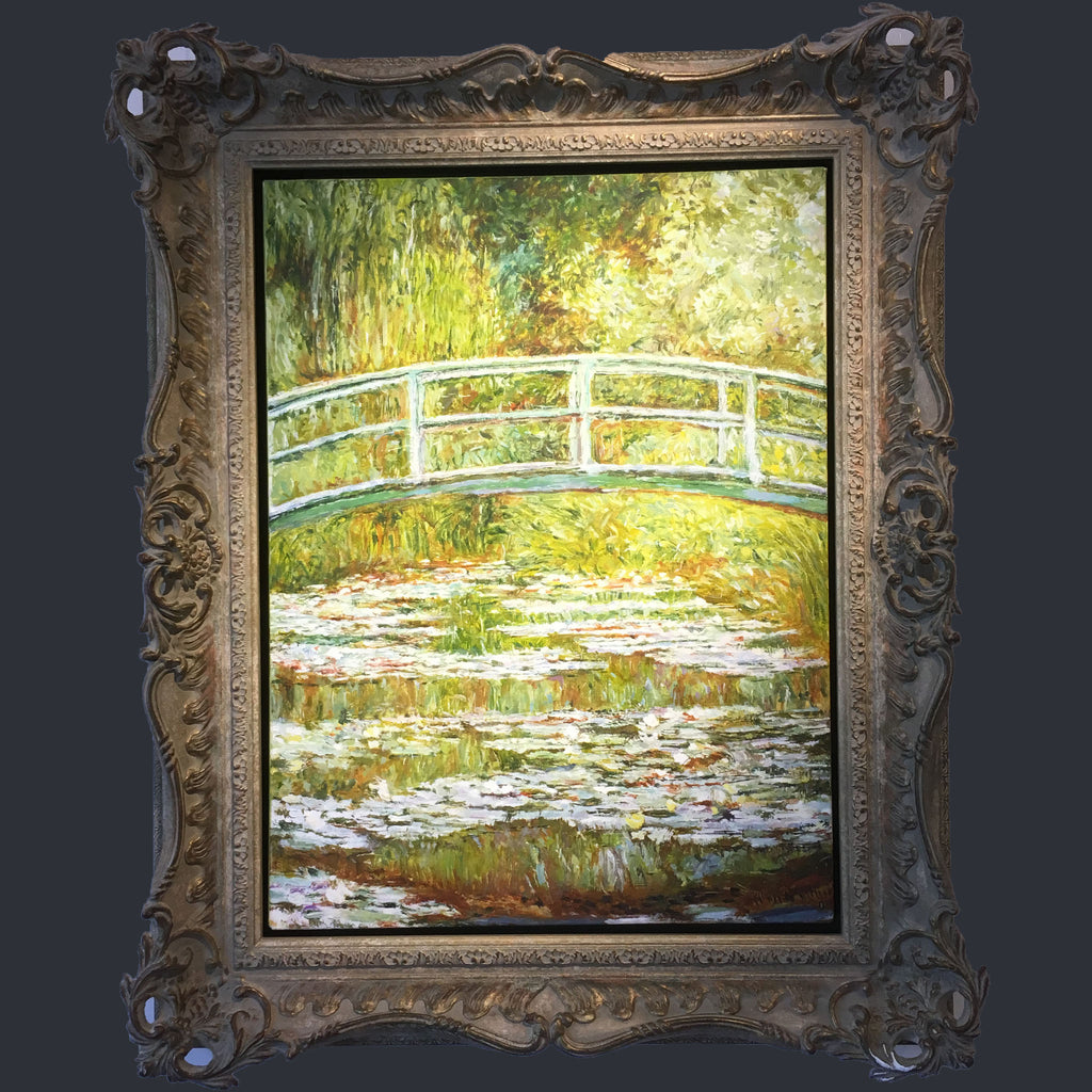 A copy of Monet's Bridge at Giverny featuring a blue bridge over a lily pond