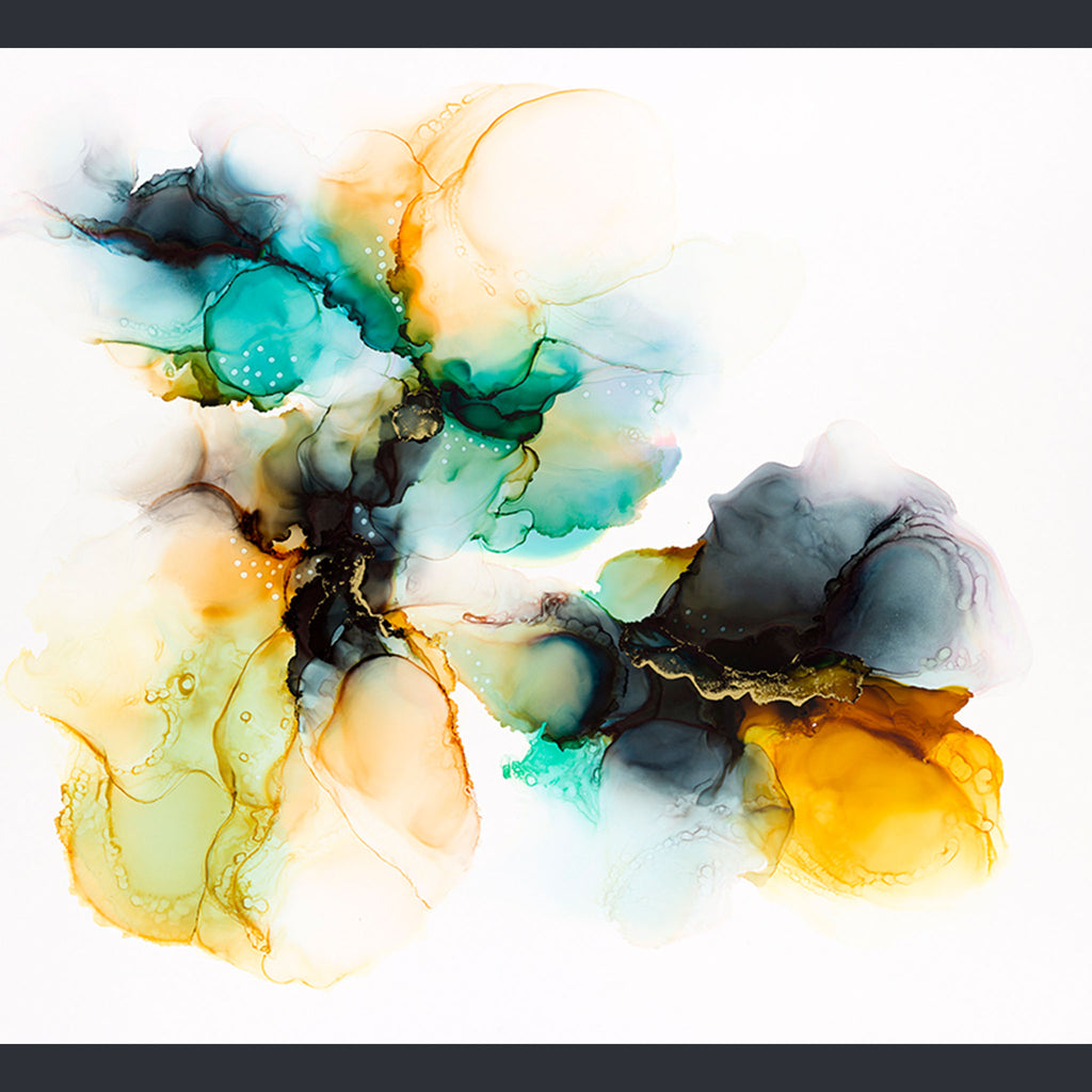 alcohol ink blue and yellow on a white background