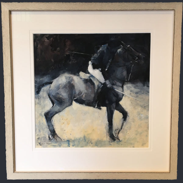 A painting of a polo horse and its rider