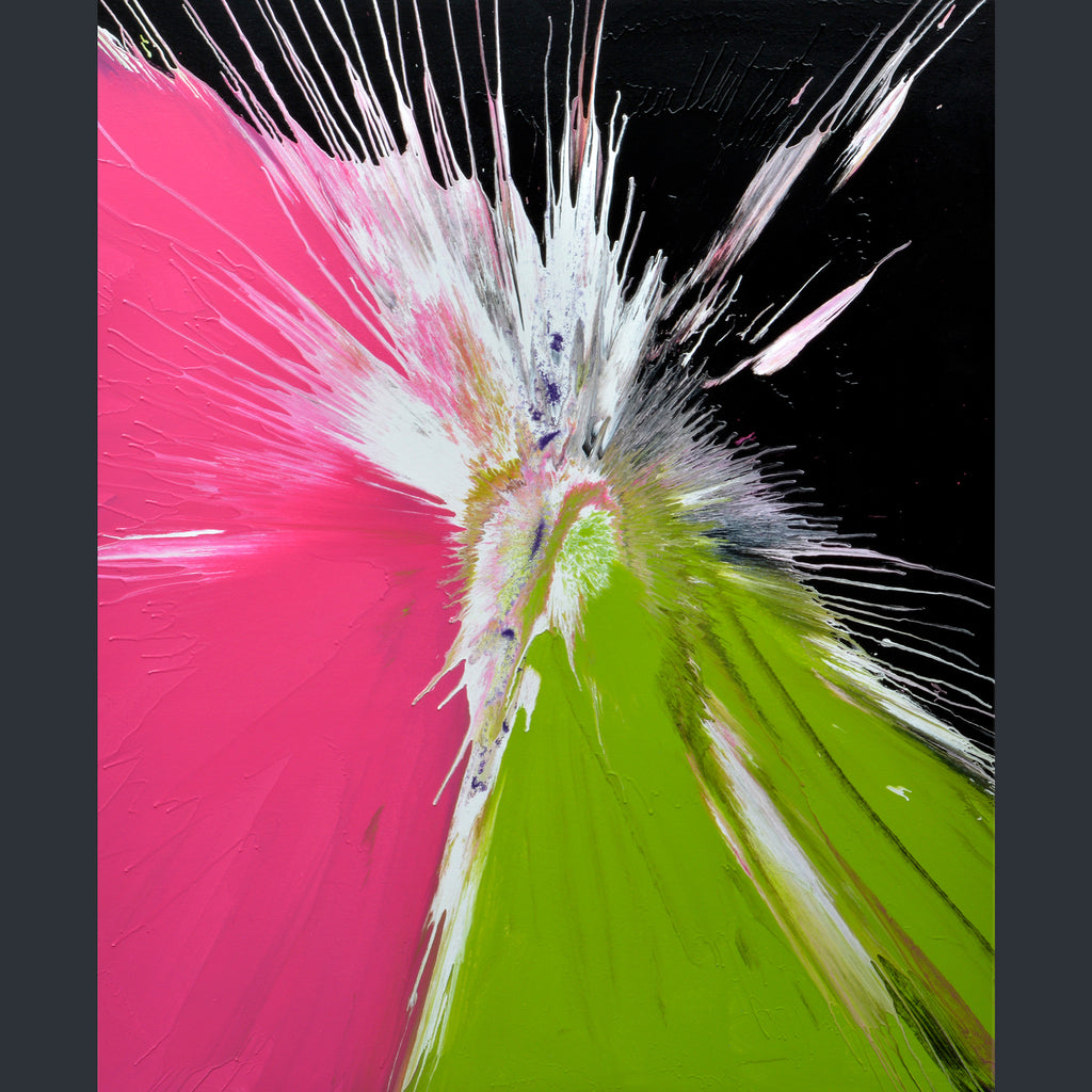 A black canvas with large areas of pink and lime green, with a splash of white radiating from the middle, by artist Swarez