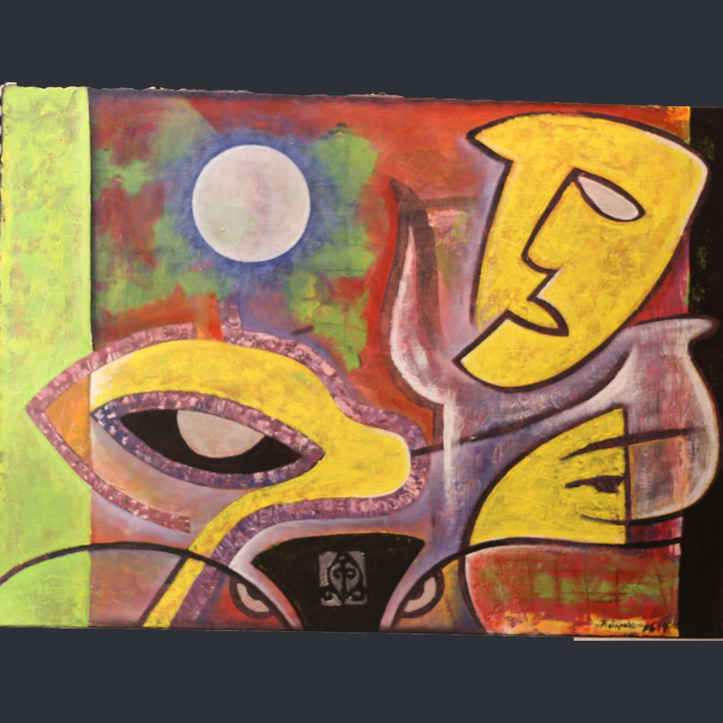 A brightly coloured abstract painting with a hint of cubism by way of a yellow mask. A moon shines in the background and a cow eyes and horns are subtly present at the bottom of the canvas.