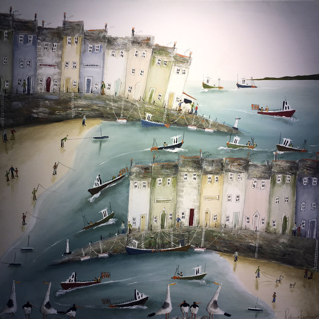 Painting of a harbour scene by Rebecca Lardner
