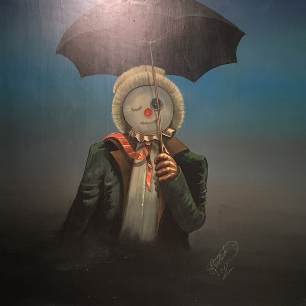 Frank The Scarecrow holding an umbrella and smiling by Roy Meats artist