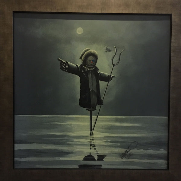 Frank The Scarecrow stood in water with a pitchfork pointing away by Roy Meats artist