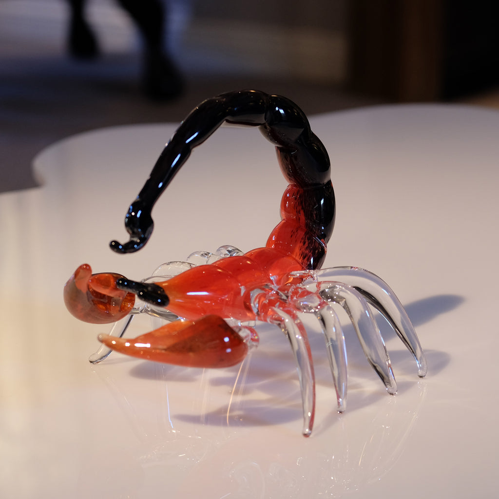 An orange and black scorpion from side angle