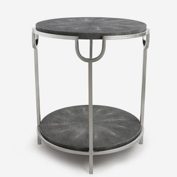 A small grey and silver side table with two shelves.