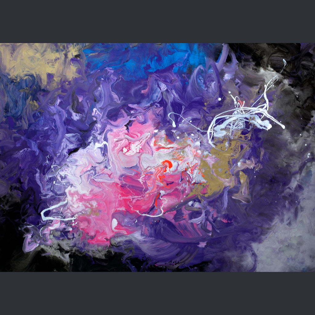 Swirls of deep purple, white, pink and gold on a rectangular canvas by artist Swarez
