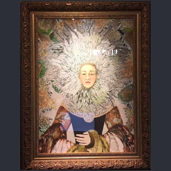 An embellished print of a lady's portrait in a gold frame by Sabina Pieper